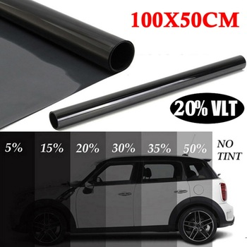 Universal Sunshade Window Film new 20 VLT Uncut Roll Tint Film Window Black Car Office Glass Non-Reflective Dyed Film image