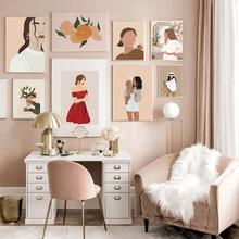 Affiche Vintage de mode pour fille, peinture sur toile minimaliste abstraite sur le mur, image imprimée d'art nordique pour la décoration de la maison