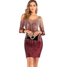 Summer Sexy Off Shoulder Mini Dress Women Vintage Backless Sequin Celebrity Woman Party Night Club Outfits Vestidos Feminino