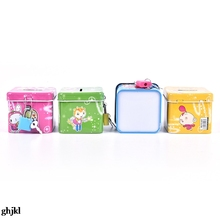 Toy Square with Lock Random-Color Money-Box Cash-Coin Piggy-Bank Gifts Tin Saving Metal