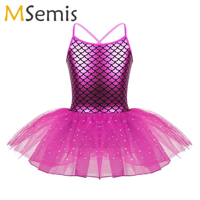 Kids Girls Ballet Dress Glitter Mermaid Costume Spaghetti Shoulder Straps Scales Pattern Printed Ballet Dance Gymnastics Leotard