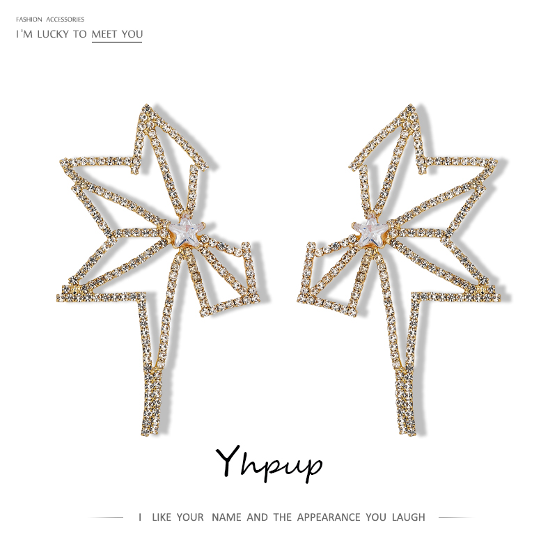Yhpup Luxury Rhinestone Geometric Hollow Stud Earrings Temperament Transparent Cubic Zirconia Jewelry Fairy Earrings For Women