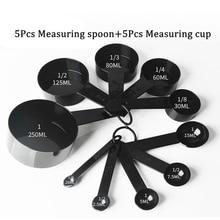 Cucharas de medir de cocina de plástico negro, herramienta de medición para cocina, 5/10 Uds.