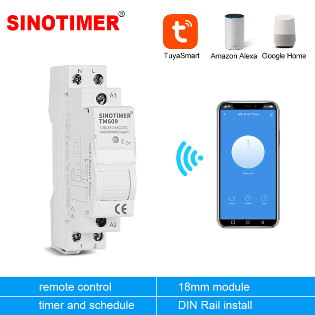 Home Smart 18mm 1P WiFi Remote APP Control Circuit Breaker Timing Switch Staircase Timer Din Rail Universal 110V 220V AC Input