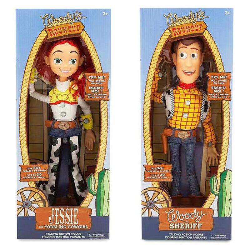 """16 """"de Disney Pixar juguete historia 4 cuerda hablando Woody Jessie Buzz Lightyear muñeco de acción figura de juguete para los niños regalo de Navidad"""