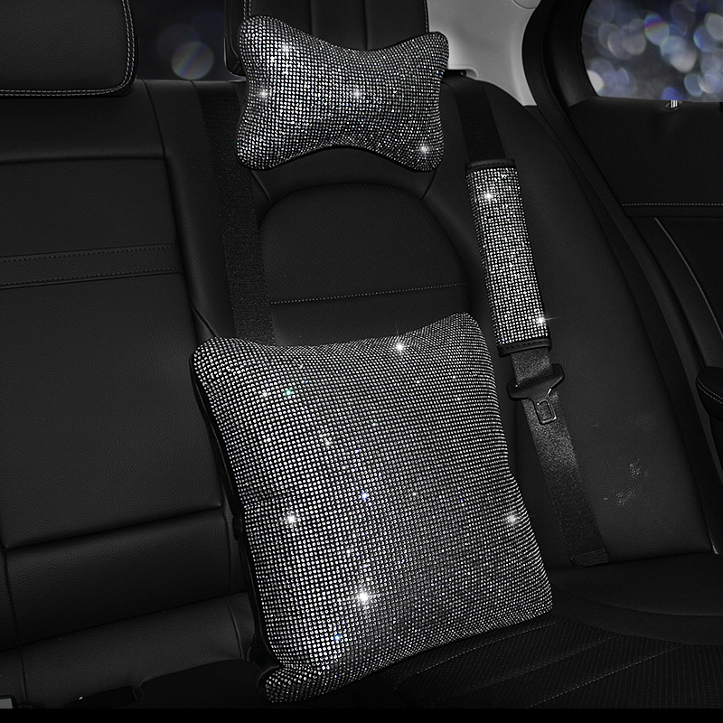 Rhinestones-Crystal-Car-Seat-belt-cover-pad-Neck-pillow-Waist-Support-Steering-wheel-cover-Auto-Interior (1)
