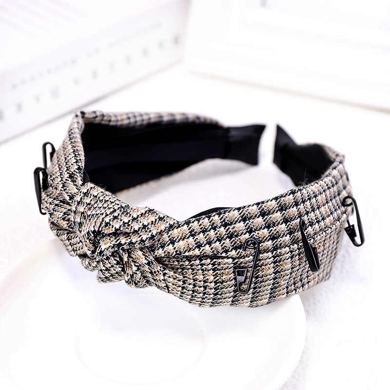 Baru Korea Versi Klasik Wanita Rambut Hoop Hairband Plaid Pin Headband Bermutu Tinggi Kain Tengah Simpul Lebar Sisi ikat Kepala