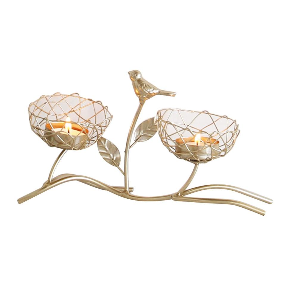 Nordic Schmiedeeisen Leuchter Goldene Vogel Duftenden Kerzenhalter Hochzeit Esstisch Romatic Dekoration Kerze Stehen Einrichtung