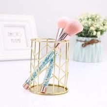 Oco ouro rosa metal caneta lápis titular papelaria maquiagem escova cosméticos organizador caixa de armazenamento de metal batom recipiente decoração