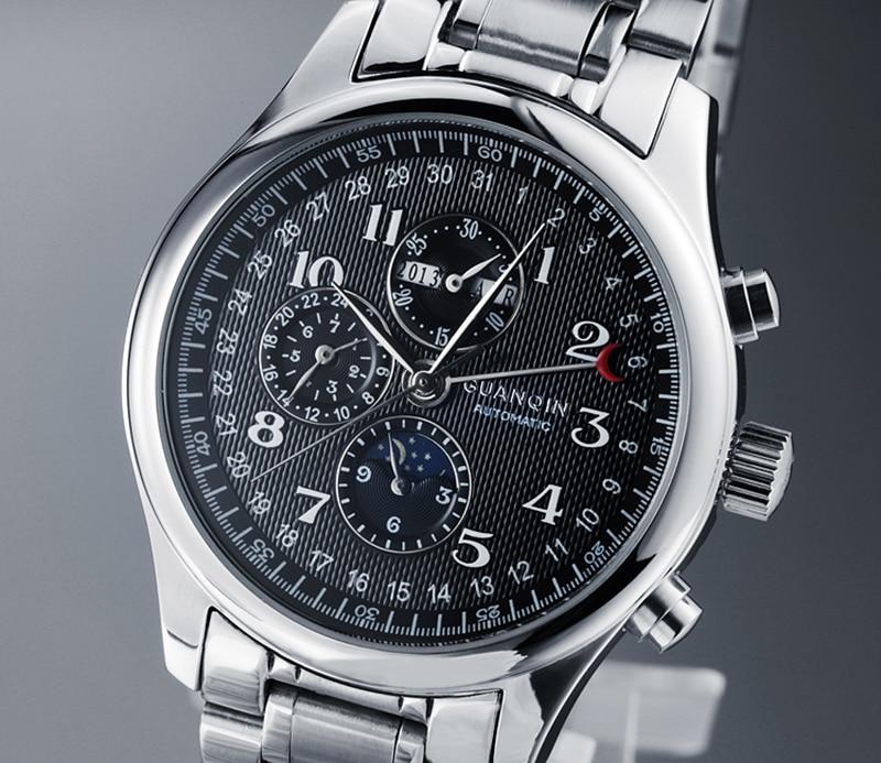 H1b59f6d7e46c485e8e5c269586a35dd17 GUANQIN Relogio Masculino Automatic Mechanical Men Watches Waterproof Calendar Moon Leather Wristwatch otomatik erkek saat