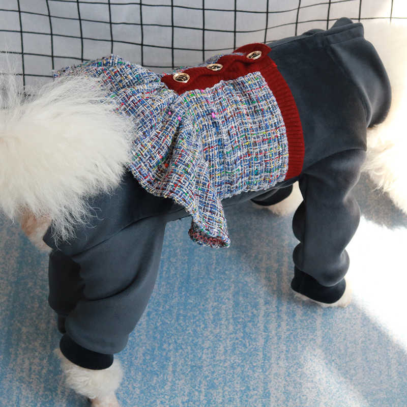 Pet Dog zimowe ubrania ciepłe zagęścić Silver Fox kurtka polarowa sukienka dla szczeniąt w stylu kombinezon dla małych psów chroń pudel brzucha