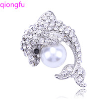 Qiongfu Dolphin Crystal Pearl Brooch Clothing Accessories Pin Dolphin Brooch, Animal Brooch qionggf water brick brooch alloy brooch branch crystal brooch elegant pearl brooch pin clothing collar pin