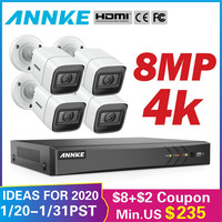 ANNKE 4K HD Ultra Clear Footage 8CH CCTV Security System 5in1 DVR With 4X 8MP Outdoor Weatherproof Video Surveillance Camera Kit