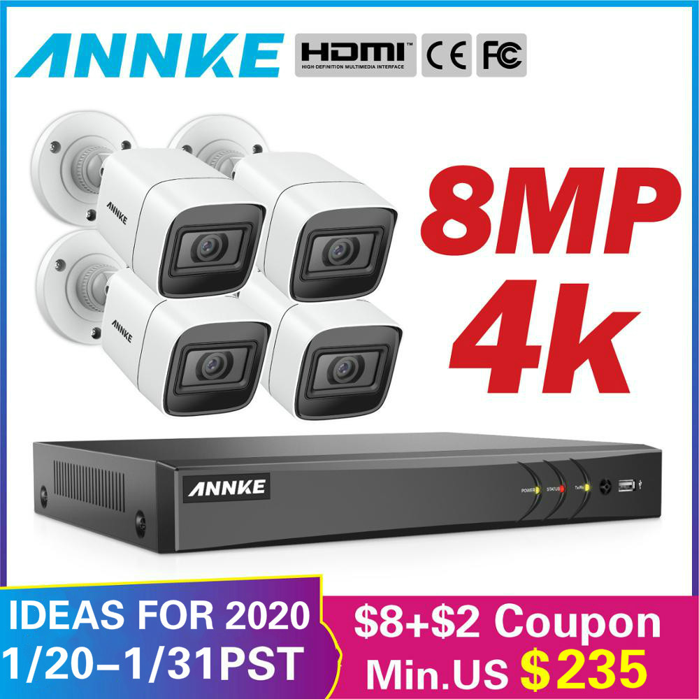 ANNKE 4K HD images Ultra claires 8CH système de sécurité CCTV 5in1 DVR avec 4X8 MP Kit de caméra de Surveillance vidéo étanche extérieure