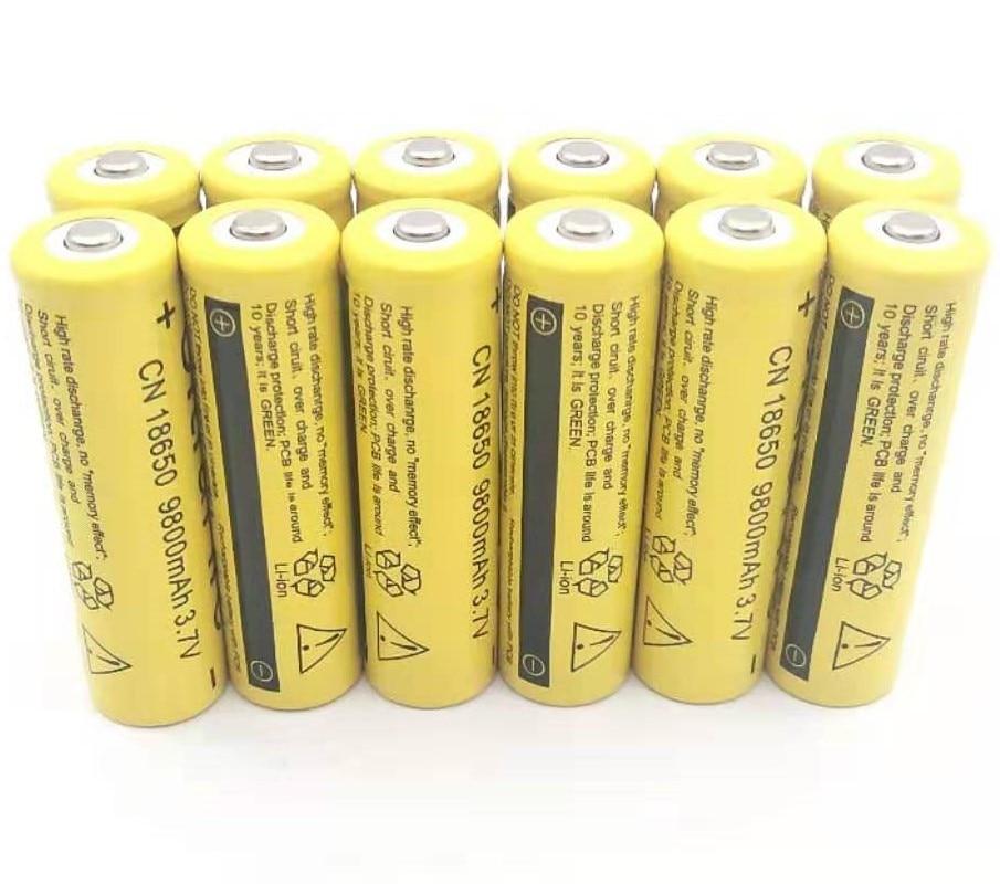 12PCS  3.7V 18650 Battery Lithium 9800mAh Rechargeable Li-ion Bateria For Flashlight
