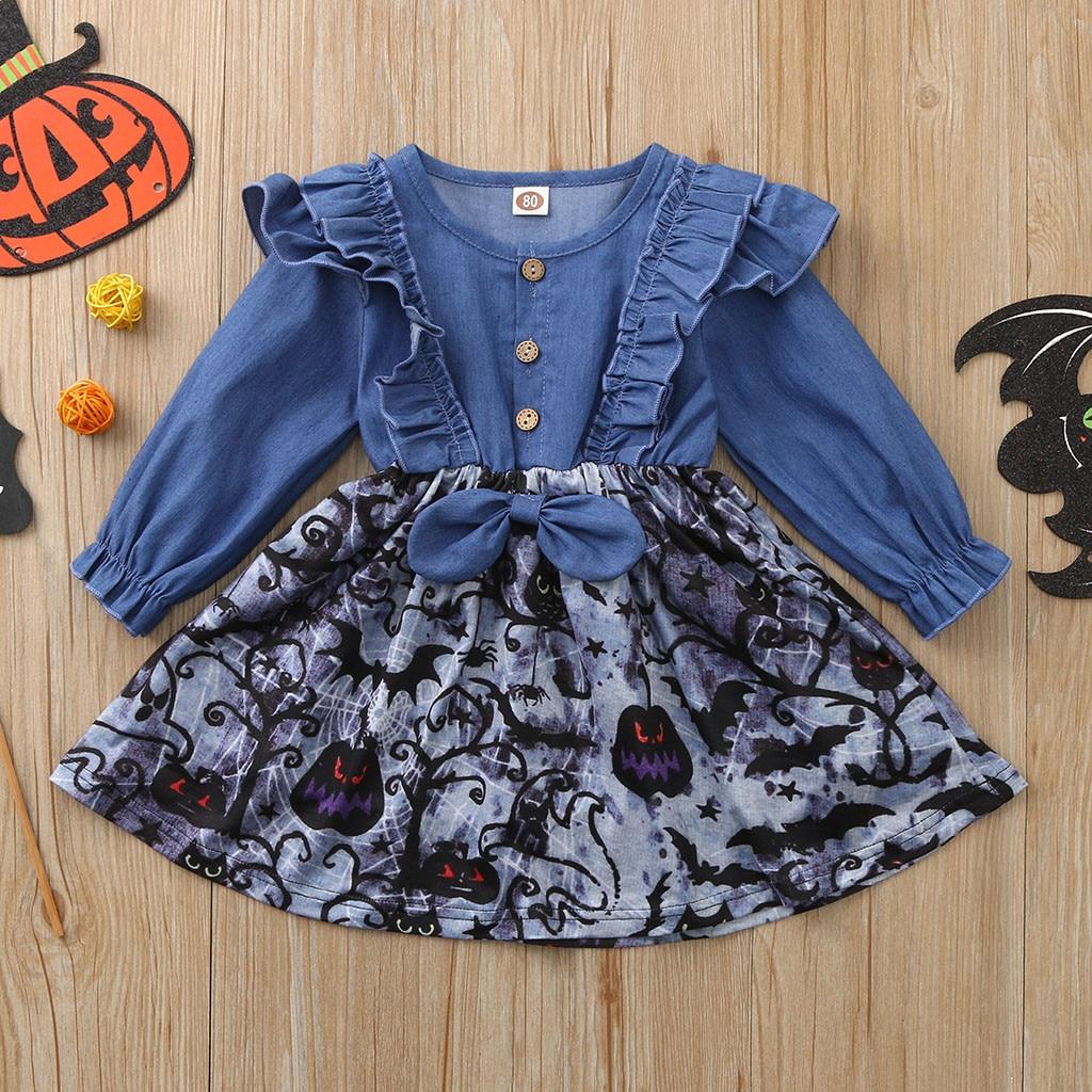 Toddler Kids Baby Girls Print Halloween Party Pumpkin Denim Dress Princess Dress