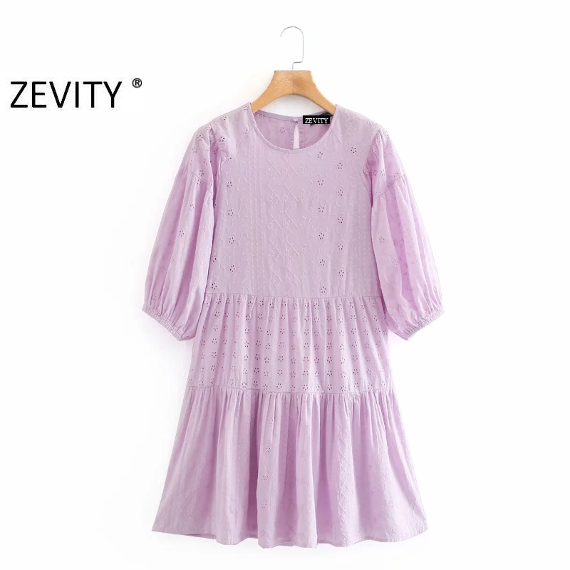 Zevity women elegant o neck hollow out embroidery patchwork pleat dress chic female lantern sleeve vestidos party dresses DS4160