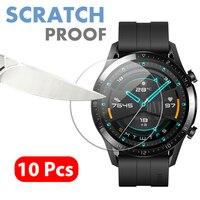 10 pçs premium vidro temperado para huawei relógio gt 2 46mm smartwatch protetor de tela à prova de explosão filme acessórios