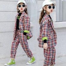 Одежда для девочек-подростков, спортивный костюм, Детский костюм для девочек, комплекты одежды, школьная клетчатая куртка, штаны, костюм, одежда для детей 10, 12 лет