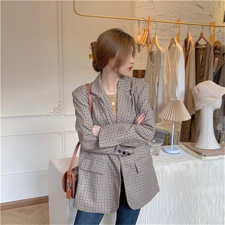 Fashion Autumn Women Plaid Jackets Blazers Work Office Lady Suit Slim Business Female Blazer Coat Talever JK399