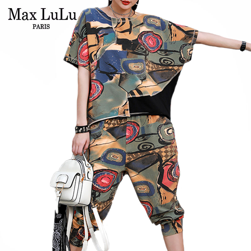 Max LuLu 2021 Summer New Design Outfits Ladies Printed Loose Two Pieces Sets Women Vintage Tops And Elastic Harem Pants Big Size