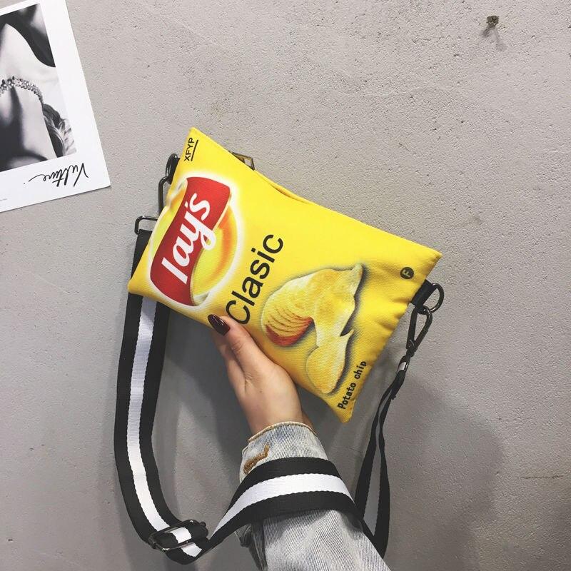 Funny Potato Chips Women Crossbody Handbag 2020 Fashion Canvas Shoulder Bag Mini Cartoon Printing Girl Envelope Bags female Bag