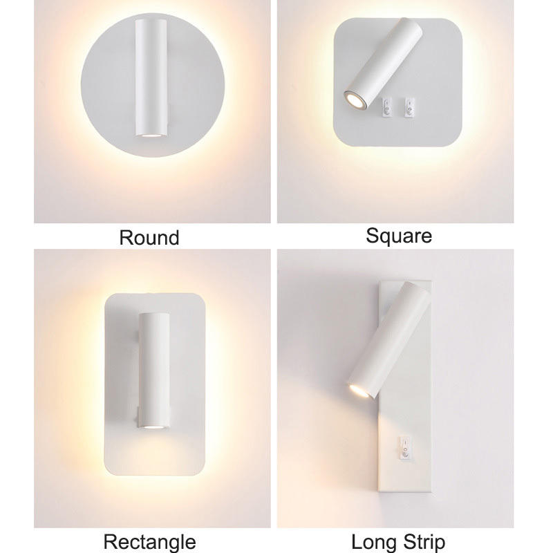 LED Wall Lamp For Bedroom Indoor With Double Switch Adjustable Angle Warm 3000k Sconce Rotatable AC85-265V Reading Light