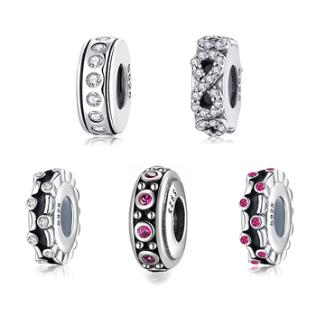 925 Sterling Silver DIY multiple styles clear CZ fine spacer stopper beads Fit Original European Charm Bracelet Jewelry making - sale item Fine Jewelry