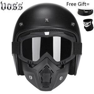 Image 3 - Moda marka VOSS vintage motosiklet kaskları mat siyah kaptan amerika gözlük Retro Vintage stil nokta