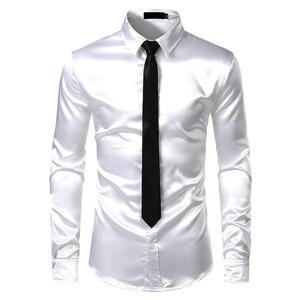 Image 4 - 2pcs Camisa + Gravata Dos Homens de Seda De Cetim Liso de Prata Smoking Camisas Casuais Botão Para Baixo Homens Camisas da Festa de Casamento do baile de Finalistas do Vestido Chemise Homme