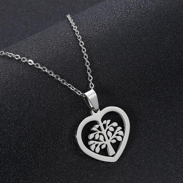 SONYA acier inoxydable arbre de vie rond petit pendentif Collier argent couleurs Bijoux Collier élégant femmes Bijoux cadeaux