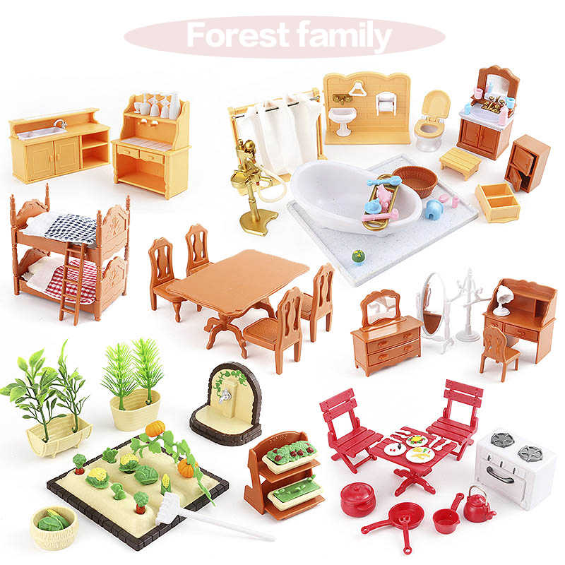 1:12 Set Suitable for Sylvanianed Families Character Toys Doll House Mini Bedroom Set Mini Living Room Furniture Toys Gift