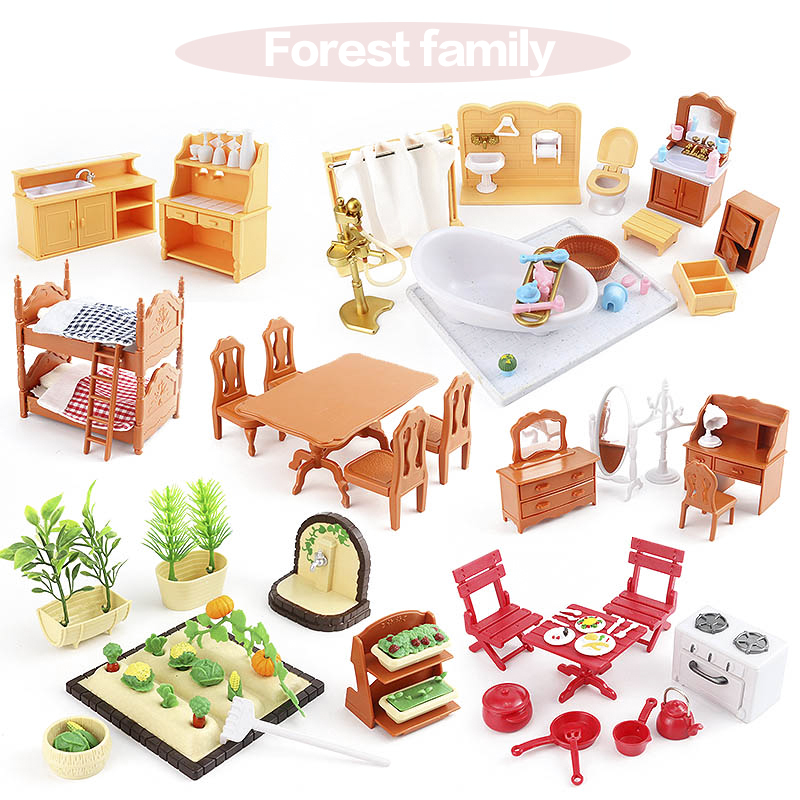 1:12 Set Suitable For Forest Families Character Toys Doll House Mini Bedroom Set Mini Living Room Furniture Toys Gift