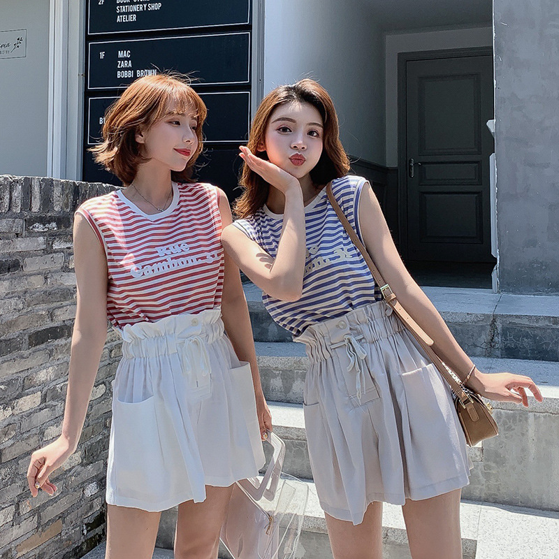 Amoi Printed Lettered Stripes Vest T-shirt + Lace-up High-waisted Casual Shorts Women's Two-Piece Set