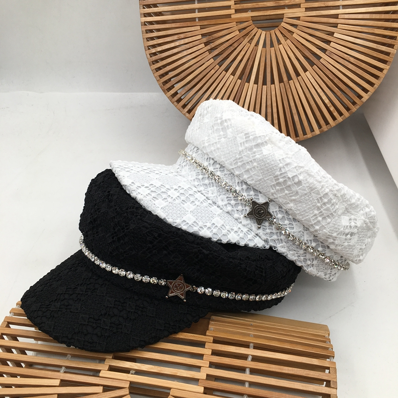 British Lace Navy Hat Small Sweet Spring Wind Restoring Ancient Ways The New Black And White Cap Female Fashion Joker Buds Cap