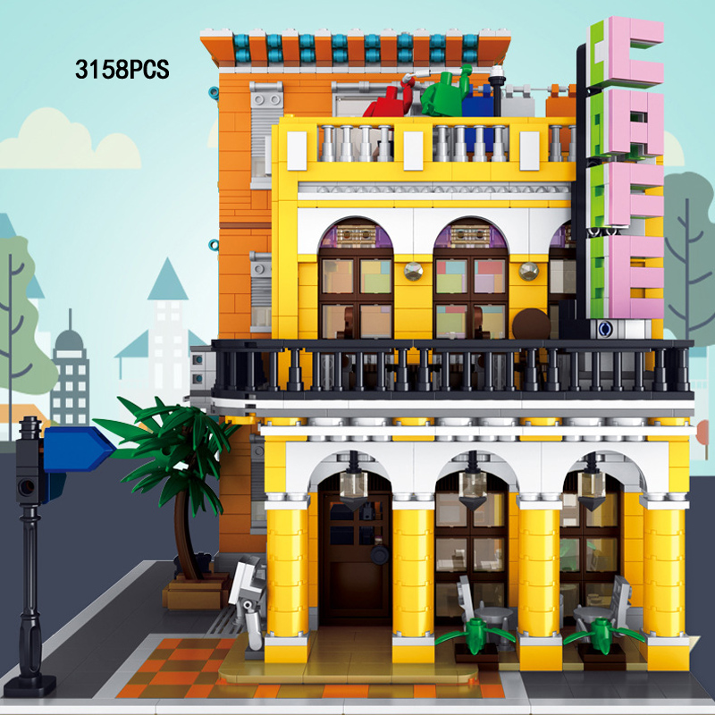 City street view Corner coffee house moc building block model with light assemble bricks educational toys collection for gifts
