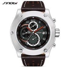 SINOBI מותג ספורט גברים של שעון יוקרה זכר עור עמיד למים הכרונוגרף קוורץ שעון צבאי שעון יד גברים שעון Saat מתנה