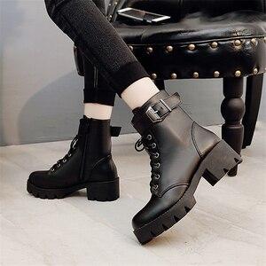 Image 5 - Moda skórzane Martens buty damskie buty zimowe ciepłe sznurowane botki dla kobiety wysokiej jakości wodoodporne buty na platformie Drop