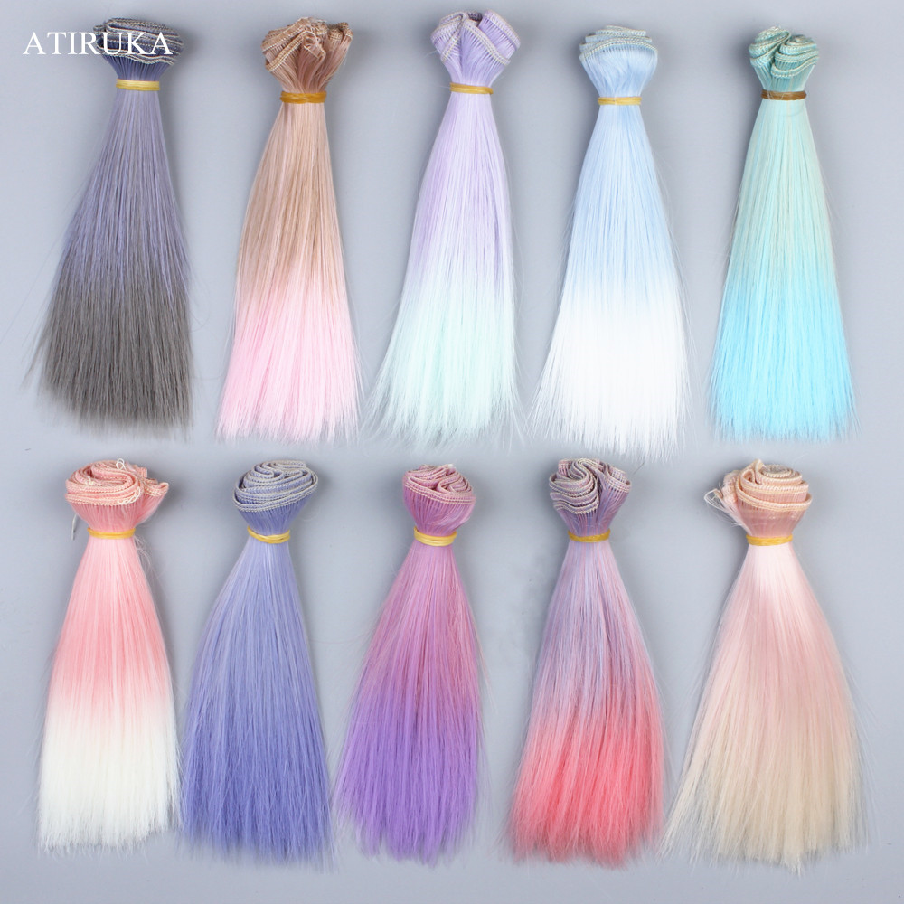 15x100cm 25x100cm Doll Accessories Wig Straight Synthetic Fiber Wig Colorful Hair For Doll Wigs High-temperature Wire Hairs