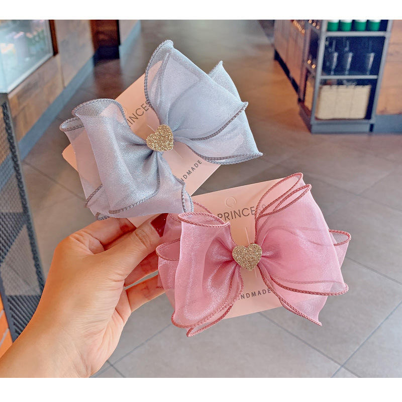 BalleenShiny Big Bowknot Kids Hairpins Headwear Hair Accessories For Baby Girls Princess Sequins Love Heart Hair Clips Gifts