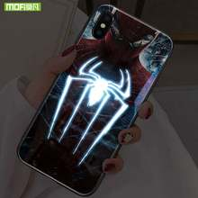 Mofi inteligente led brilhante caso de telefone para iphone 7 8 casos capa homem aranha para apple iphone 7 8 plus caso os vingadores personagem(China)