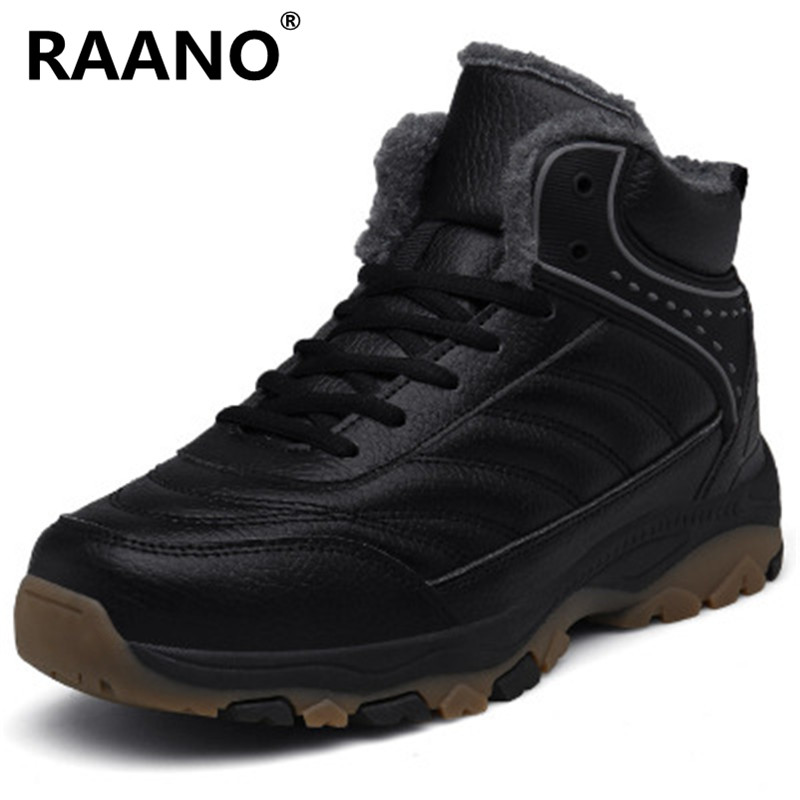 Plus Size 46 47 48 Men'S Winter Fur Snow Boots High Quality Plush Warm Leather Ankle Boots Male Outdoor Waterproof Work Shoes