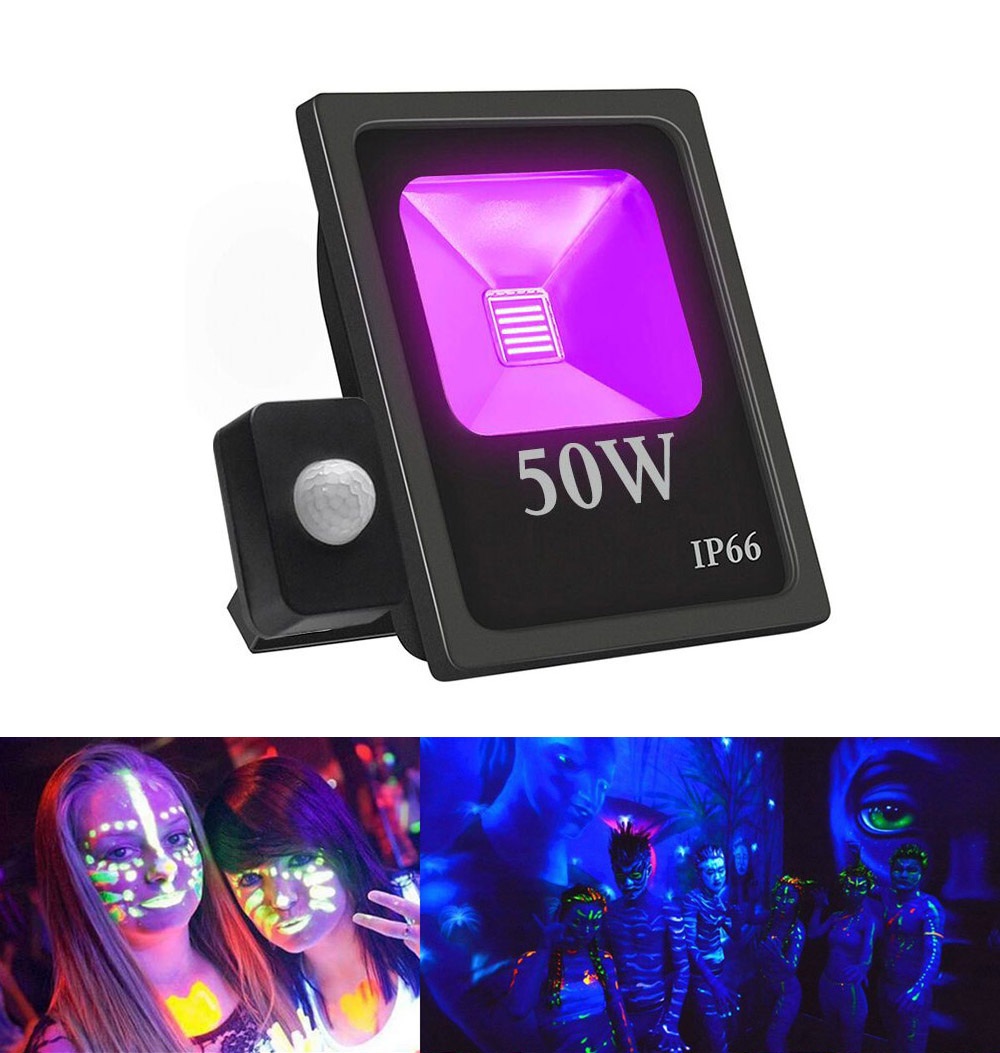 10W <font><b>20W</b></font> 30W 50W UV <font><b>LED</b></font> <font><b>Floodlight</b></font> with PIR Motion Sensor Waterproof Ultra Violet Black Light Party Disco Neon Stage Lighting image
