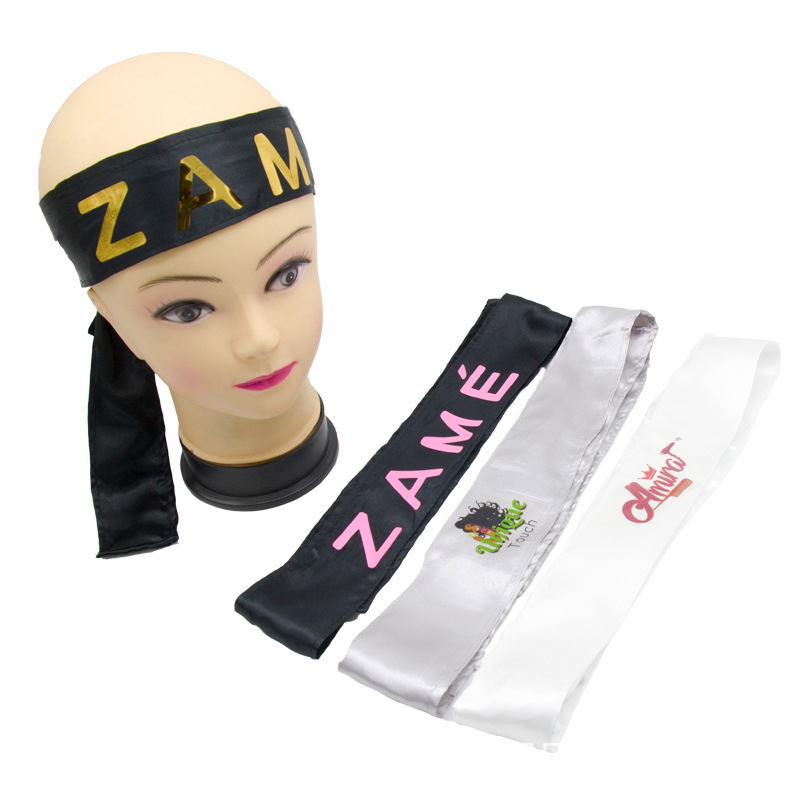 Custom Logo Rose Black Silk Satin Headband Wig Wrap Grip Band For Hair Satin Edge Laying Scarf Wrap