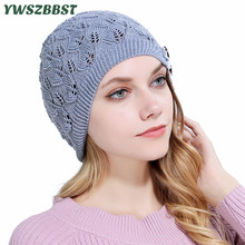 New Autumn Women Beanies Hat Leaves Lace Button Skullies Winter Knitted Warm Cap Lady Head