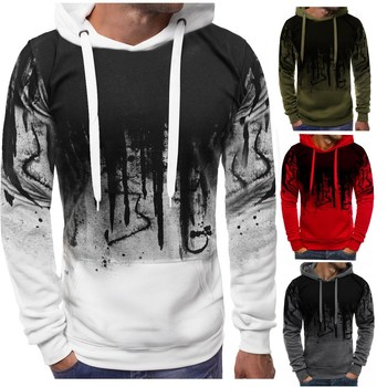 Ink Print Sweatshirt New Men's Casual Hoodie For Autumn And Winter Long Sleeve Hooded Hoodie Jacket Plus Size 4xl футболка lost ink plus lost ink plus lo035ewzcu38