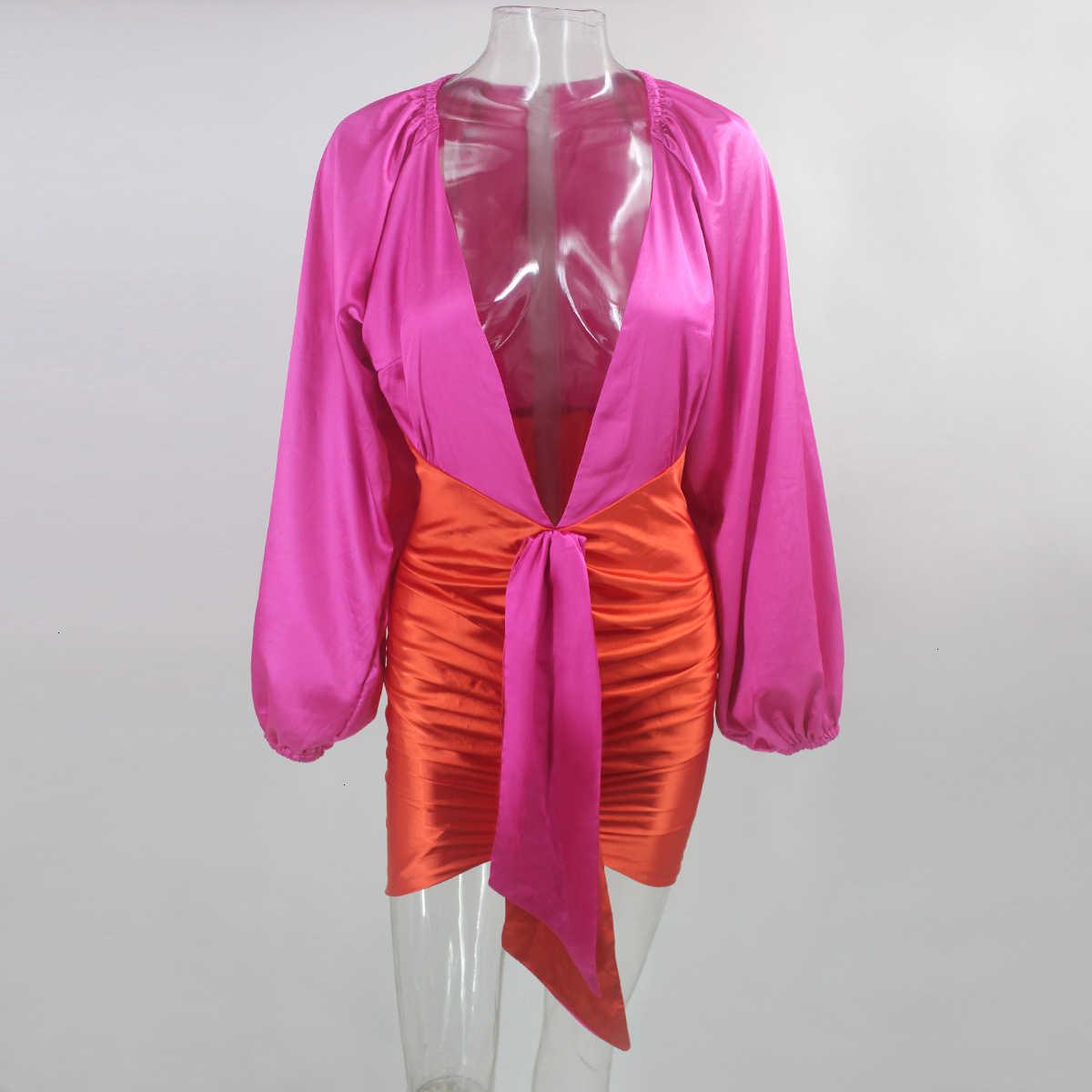 Justchicc, мини Плиссированное Бандажное платье, женское сексуальное платье с глубоким v-образным вырезом, на молнии, Осеннее облегающее платье с рукавом-фонариком, Клубные вечерние платья