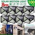 100 светодиодный солнечный светильник на открытом воздухе на стенная солнечна лампа светодиодный лампы IP65 движения PIR Сенсор Lampara солнечный ...