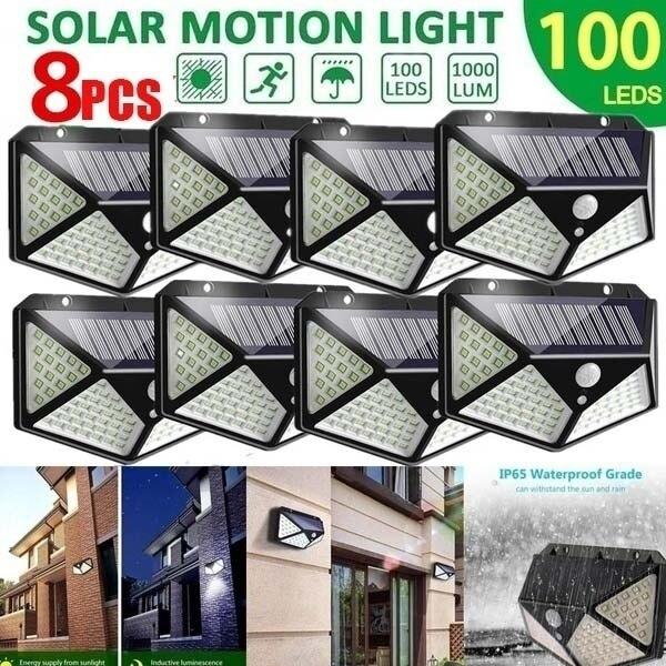 100 led solar luz ao ar livre lâmpada de parede solar lâmpada led ip65 pir sensor de movimento lampara iluminação solar jardim decoração luzes