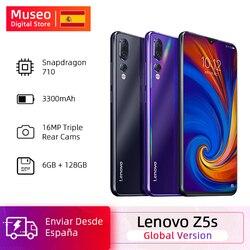 Versão global lenovo z5s snapdragon 710 octa núcleo 6 gb 128 gb smartphone identificação facial 6,3 ai câmera traseira threefold